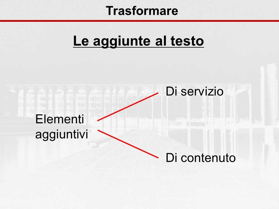 Le aggiunte al testo Trasformare Di servizio Elementi aggiuntivi