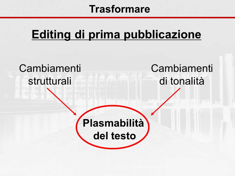 Editing di prima pubblicazione Plasmabilità del testo