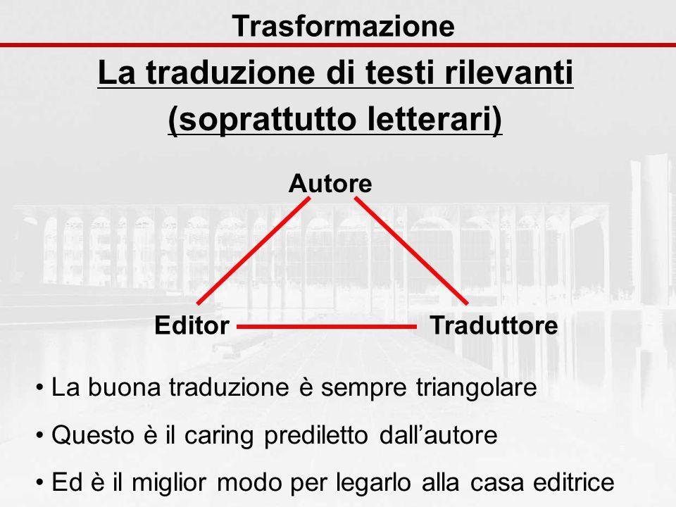 La traduzione di testi rilevanti (soprattutto letterari)