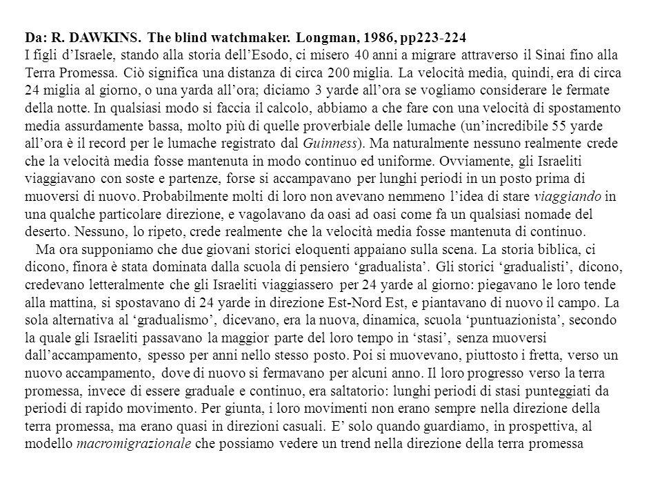 Da: R. DAWKINS. The blind watchmaker. Longman, 1986, pp223-224