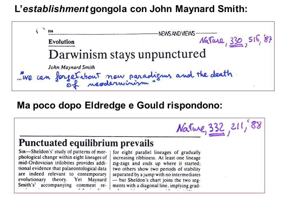 L'establishment gongola con John Maynard Smith: