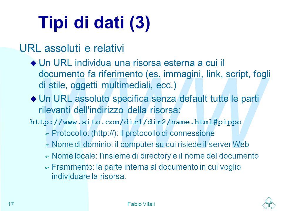 Tipi di dati (3) URL assoluti e relativi