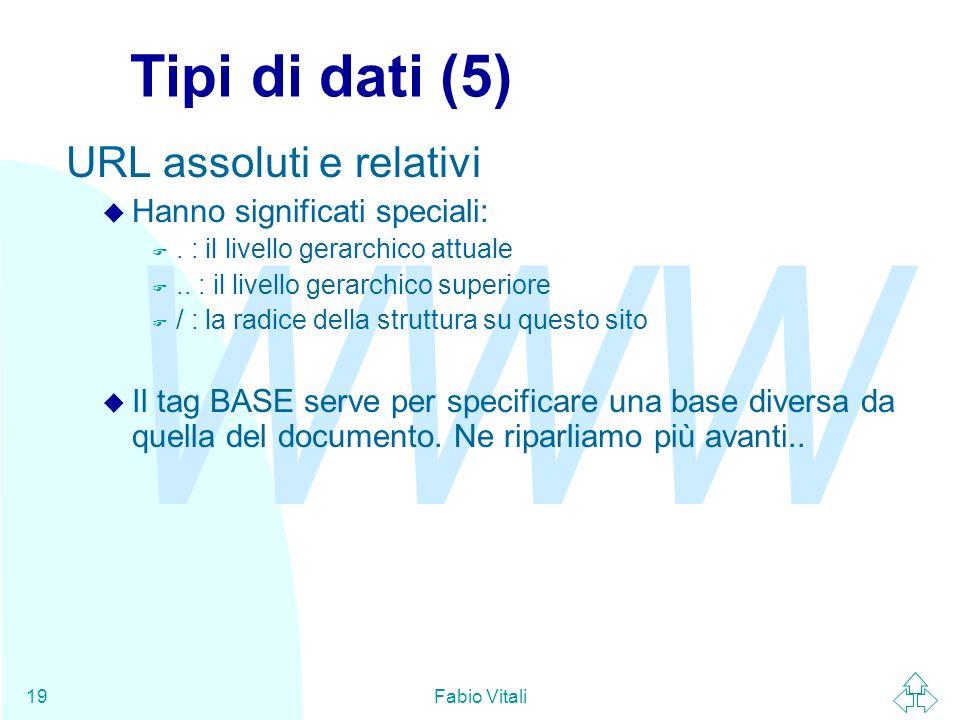 Tipi di dati (5) URL assoluti e relativi Hanno significati speciali: