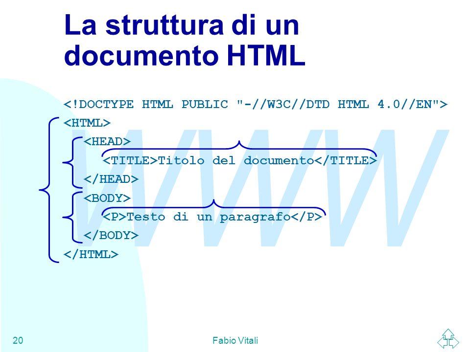 La struttura di un documento HTML