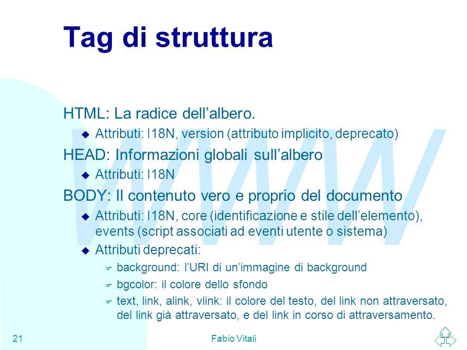 Tag di struttura HTML: La radice dell'albero.