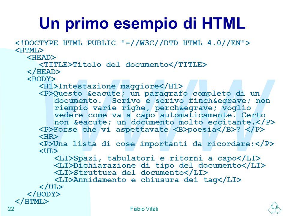 Un primo esempio di HTML