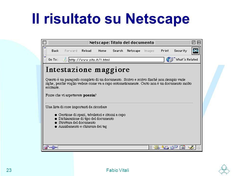 Il risultato su Netscape