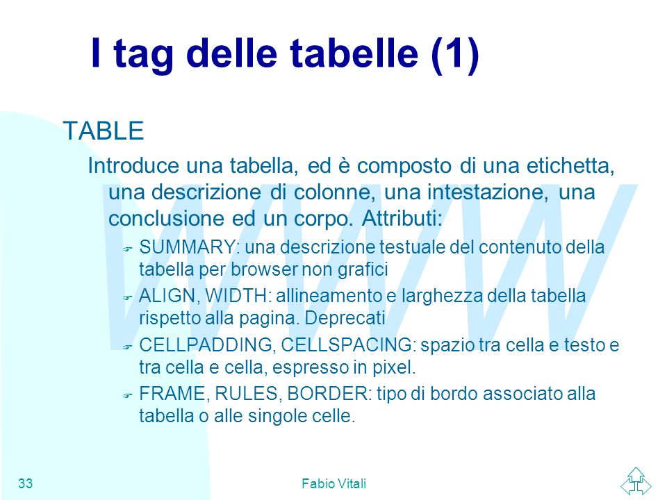 I tag delle tabelle (1) TABLE