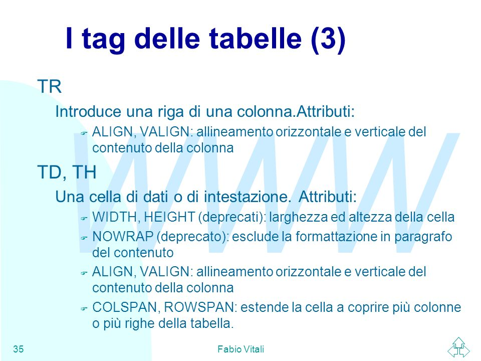 I tag delle tabelle (3) TR TD, TH