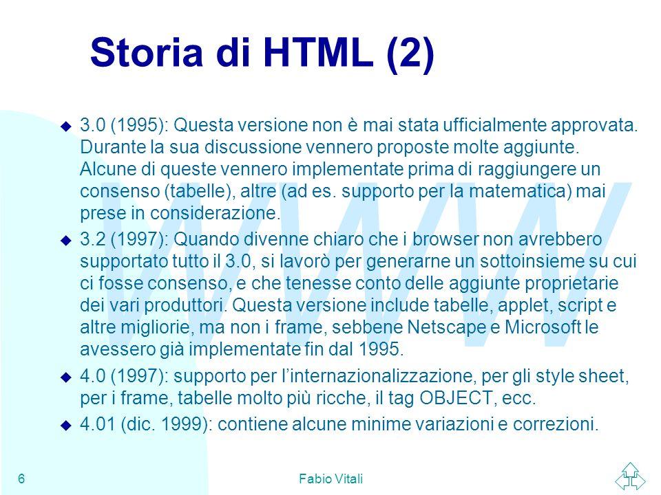 Storia di HTML (2)