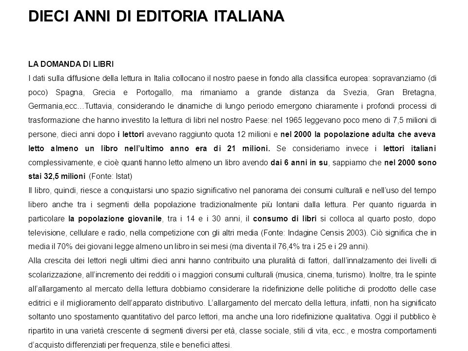 DIECI ANNI DI EDITORIA ITALIANA
