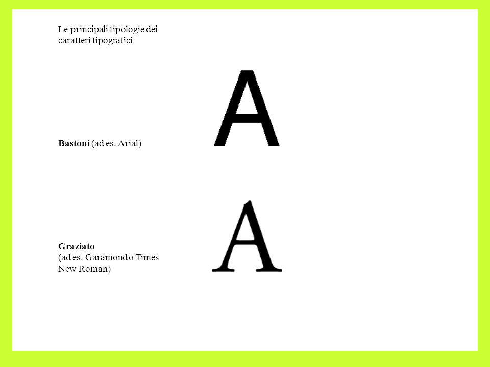 Le principali tipologie dei caratteri tipografici Bastoni (ad es