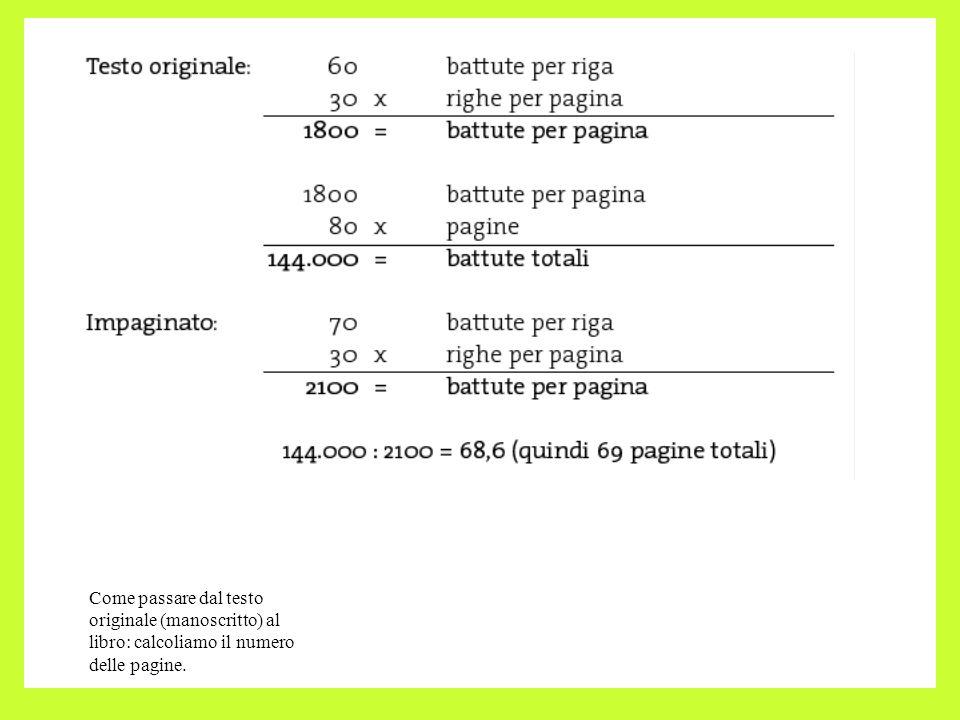 Come passare dal testo originale (manoscritto) al libro: calcoliamo il numero delle pagine.