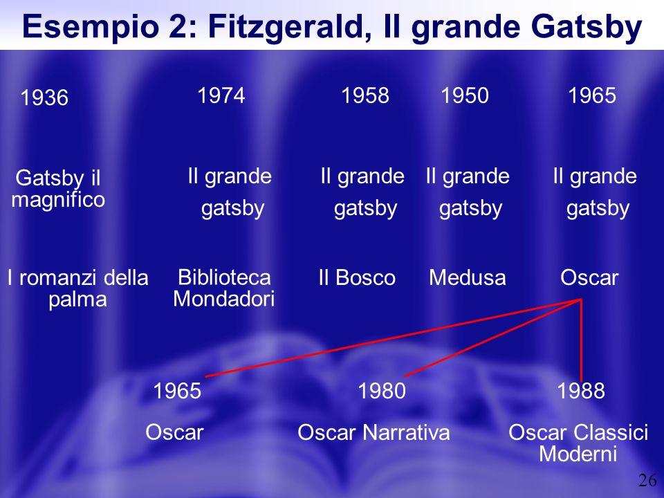 Esempio 2: Fitzgerald, Il grande Gatsby