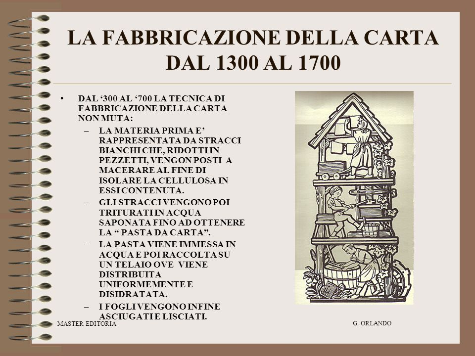 LA FABBRICAZIONE DELLA CARTA DAL 1300 AL 1700
