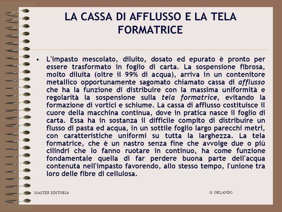LA CASSA DI AFFLUSSO E LA TELA FORMATRICE