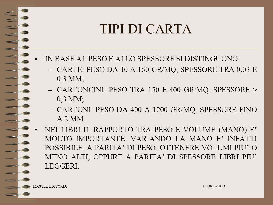 TIPI DI CARTA IN BASE AL PESO E ALLO SPESSORE SI DISTINGUONO: