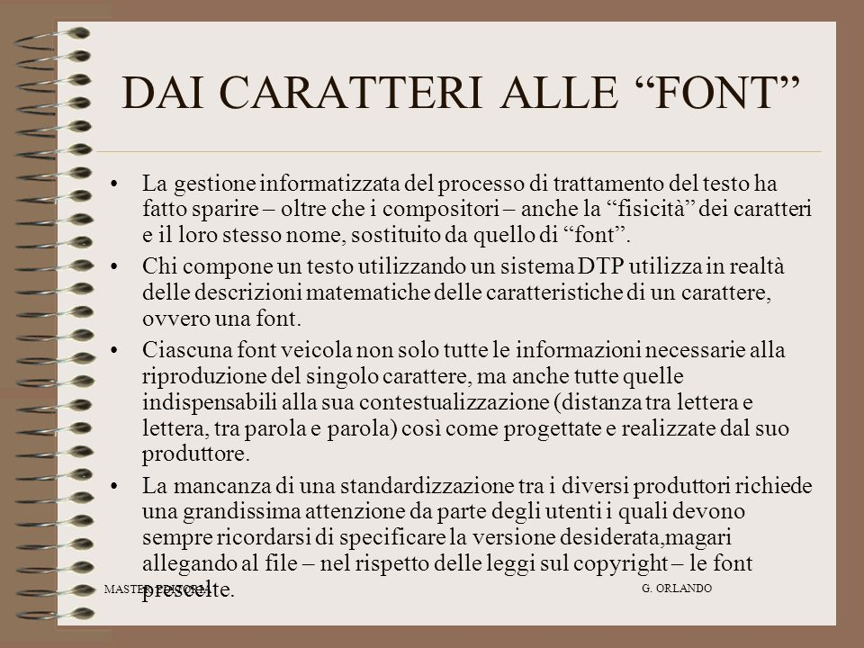 DAI CARATTERI ALLE FONT