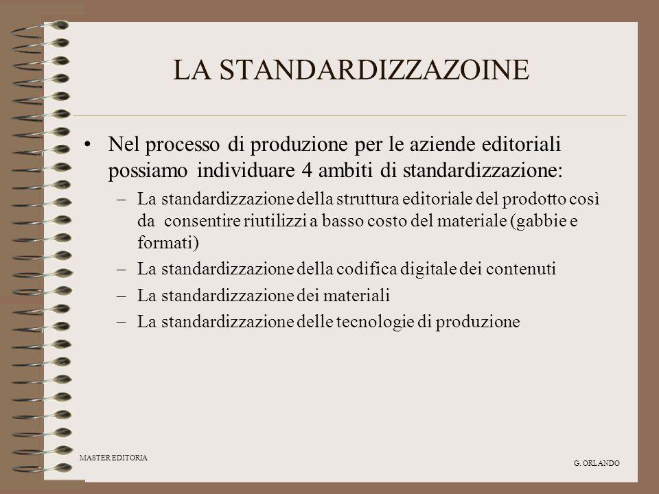 LA STANDARDIZZAZOINENel processo di produzione per le aziende editoriali possiamo individuare 4 ambiti di standardizzazione: