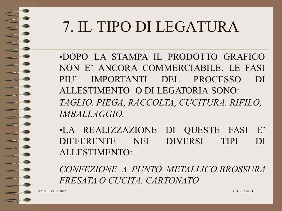 7. IL TIPO DI LEGATURA