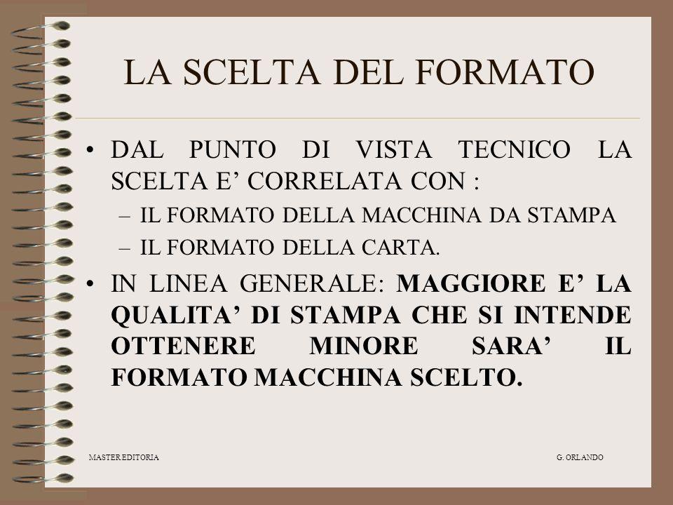 LA SCELTA DEL FORMATO DAL PUNTO DI VISTA TECNICO LA SCELTA E' CORRELATA CON : IL FORMATO DELLA MACCHINA DA STAMPA.