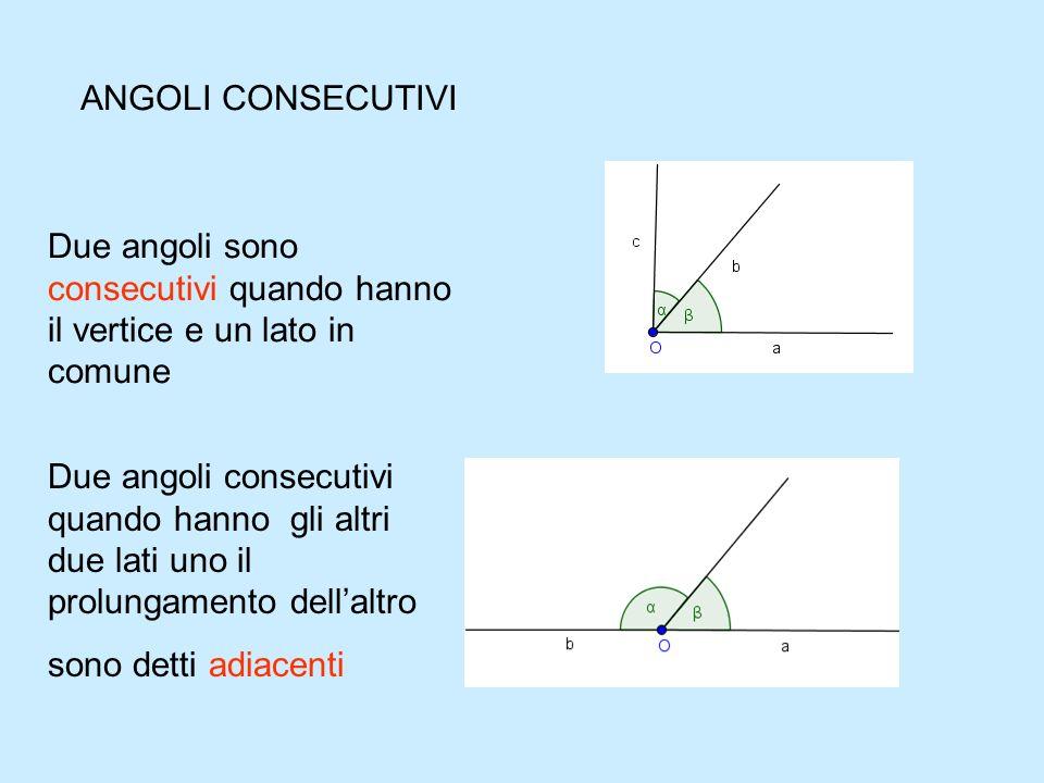 ANGOLI CONSECUTIVI Due angoli sono consecutivi quando hanno il vertice e un lato in comune.