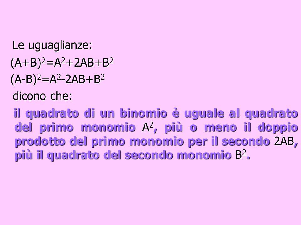 Le uguaglianze: (A+B)2=A2+2AB+B2 (A-B)2=A2-2AB+B2 dicono che:
