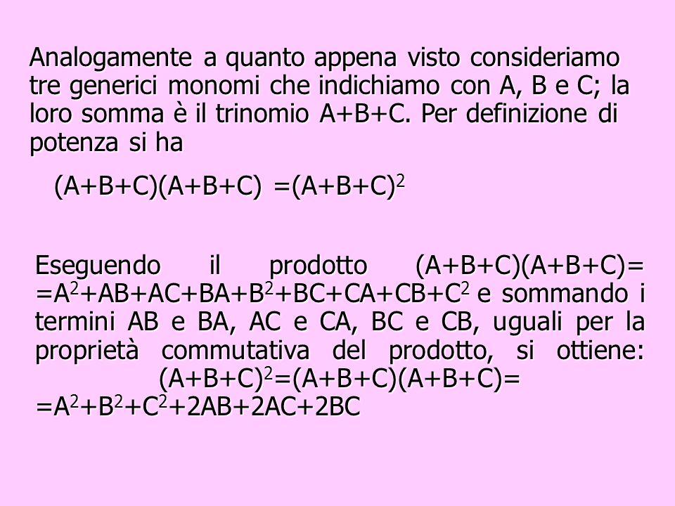 Analogamente a quanto appena visto consideriamo tre generici monomi che indichiamo con A, B e C; la loro somma è il trinomio A+B+C. Per definizione di potenza si ha