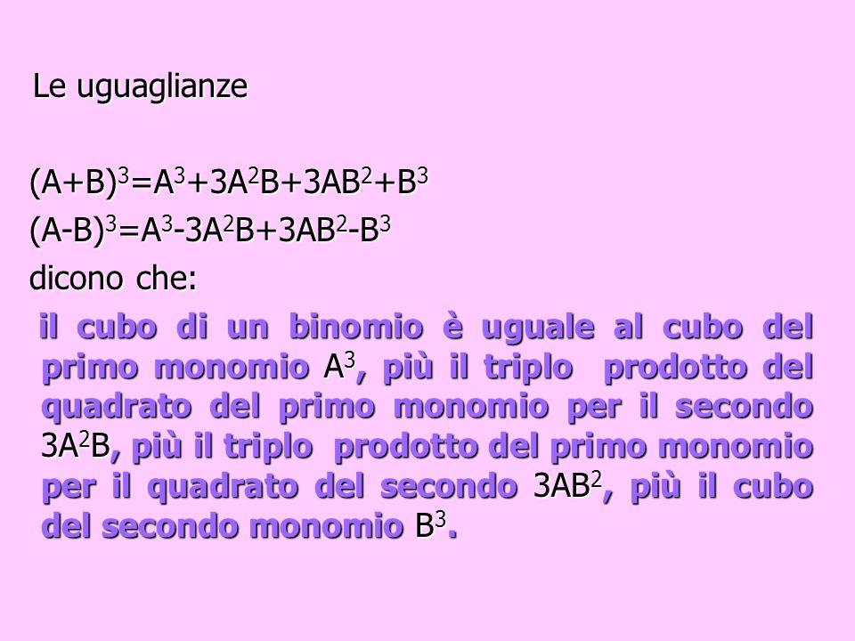 Le uguaglianze (A+B)3=A3+3A2B+3AB2+B3 (A-B)3=A3-3A2B+3AB2-B3