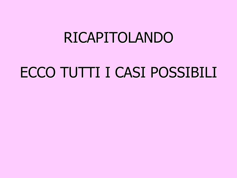RICAPITOLANDO ECCO TUTTI I CASI POSSIBILI