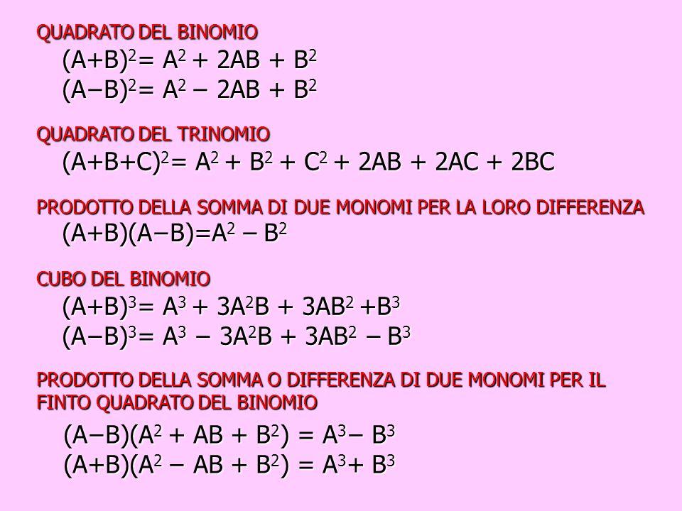 (A−B)(A2 + AB + B2) = A3− B3 (A+B)(A2 − AB + B2) = A3+ B3