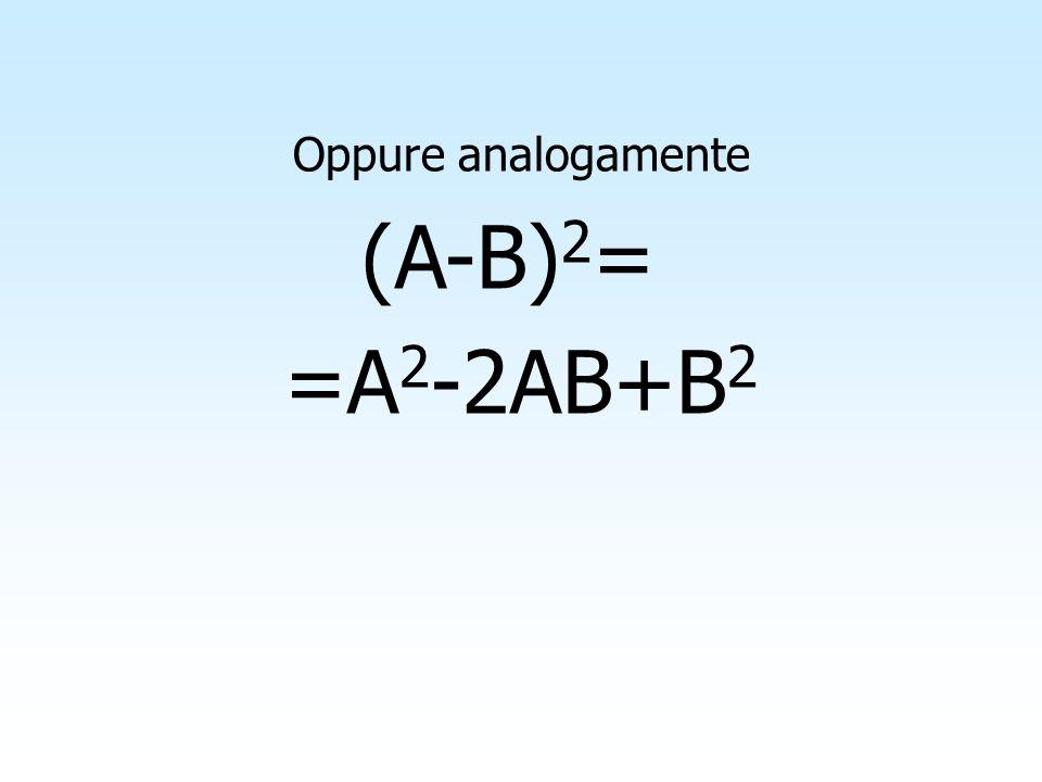Oppure analogamente (A-B)2= =A2-2AB+B2