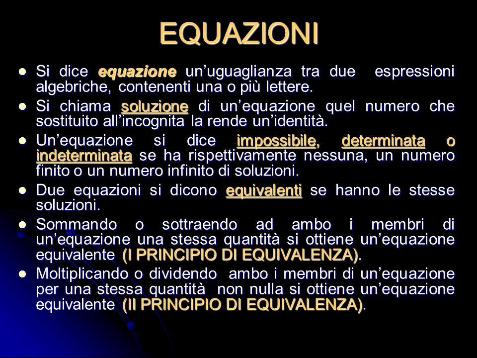 EQUAZIONISi dice equazione un'uguaglianza tra due espressioni algebriche, contenenti una o più lettere.