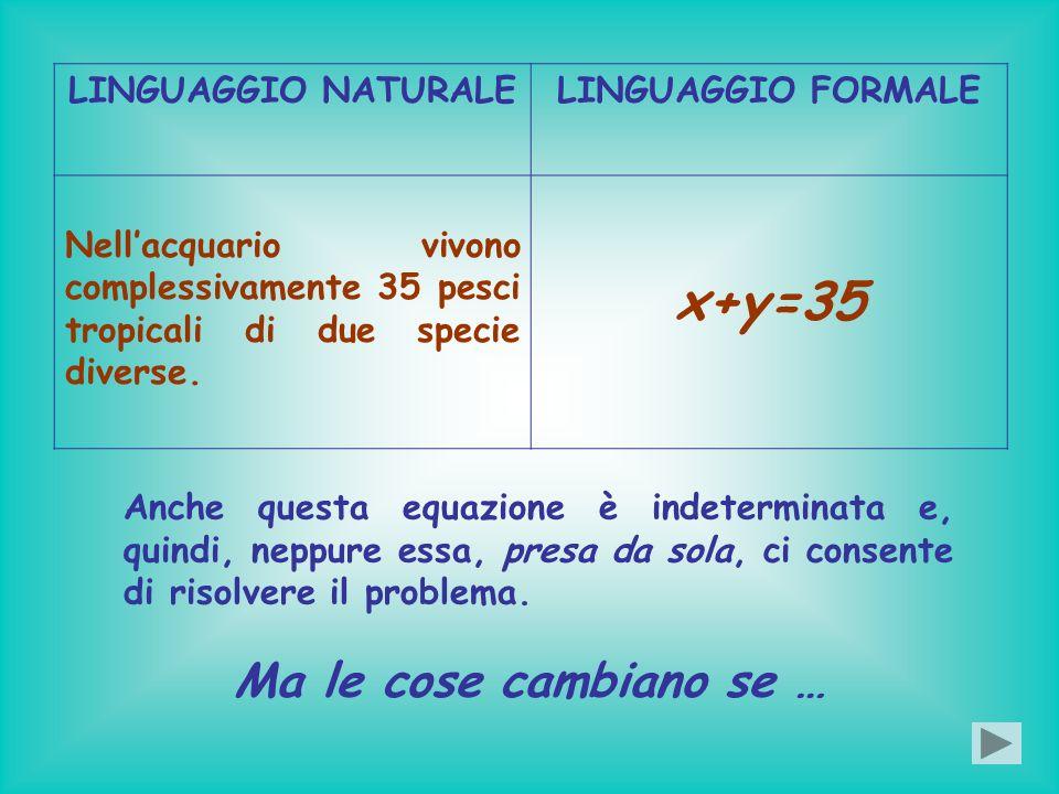 x+y=35 Ma le cose cambiano se … LINGUAGGIO NATURALE LINGUAGGIO FORMALE