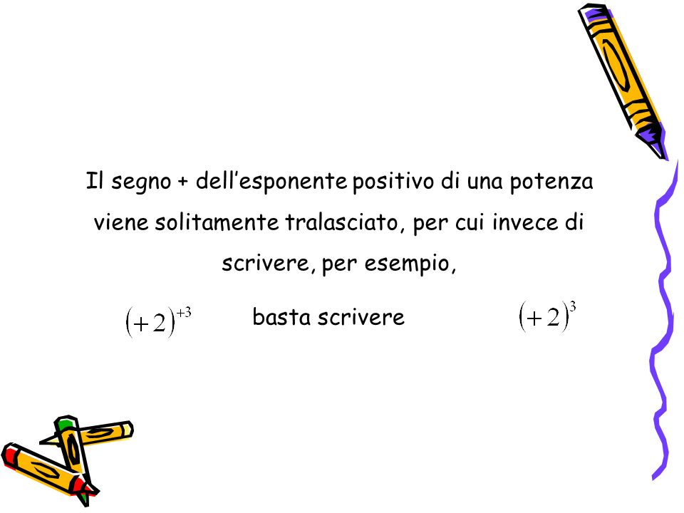 Il segno + dell'esponente positivo di una potenza viene solitamente tralasciato, per cui invece di scrivere, per esempio,