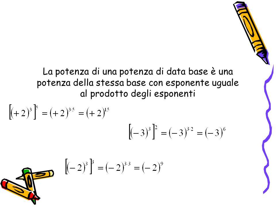 La potenza di una potenza di data base è una potenza della stessa base con esponente uguale al prodotto degli esponenti