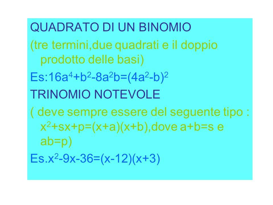 QUADRATO DI UN BINOMIO (tre termini,due quadrati e il doppio prodotto delle basi) Es:16a4+b2-8a2b=(4a2-b)2.