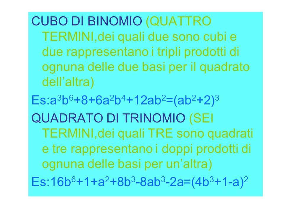 CUBO DI BINOMIO (QUATTRO TERMINI,dei quali due sono cubi e due rappresentano i tripli prodotti di ognuna delle due basi per il quadrato dell'altra)