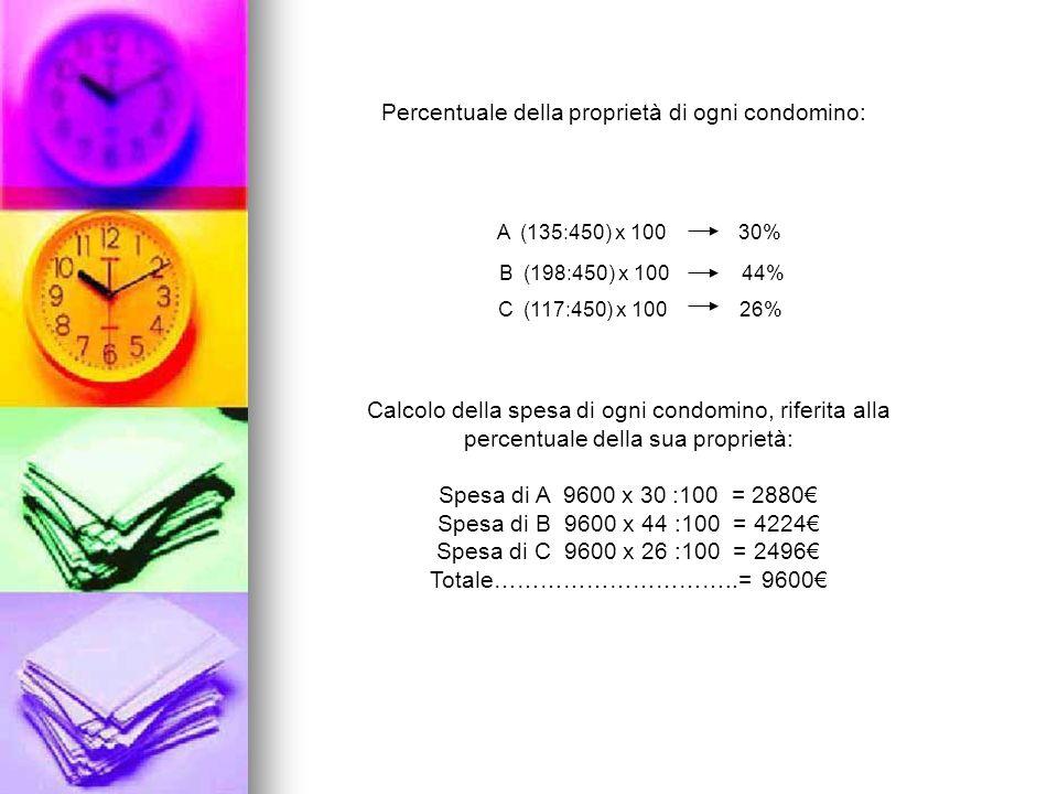 Percentuale della proprietà di ogni condomino: