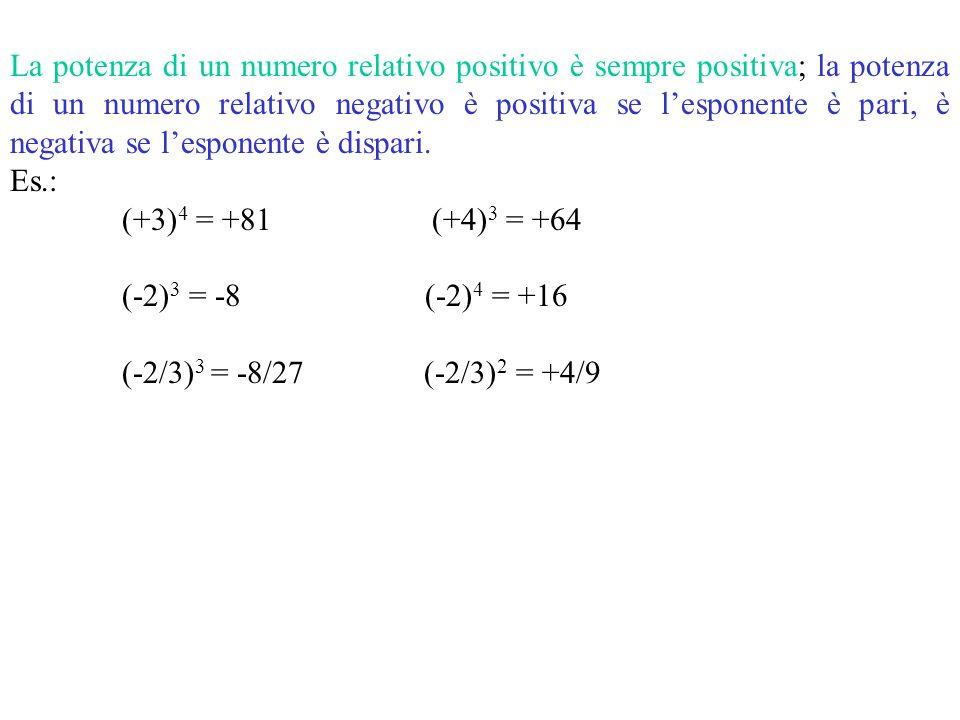 La potenza di un numero relativo positivo è sempre positiva; la potenza di un numero relativo negativo è positiva se l'esponente è pari, è negativa se l'esponente è dispari.