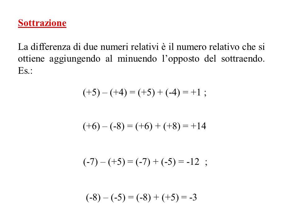 Sottrazione La differenza di due numeri relativi è il numero relativo che si ottiene aggiungendo al minuendo l'opposto del sottraendo. Es.: