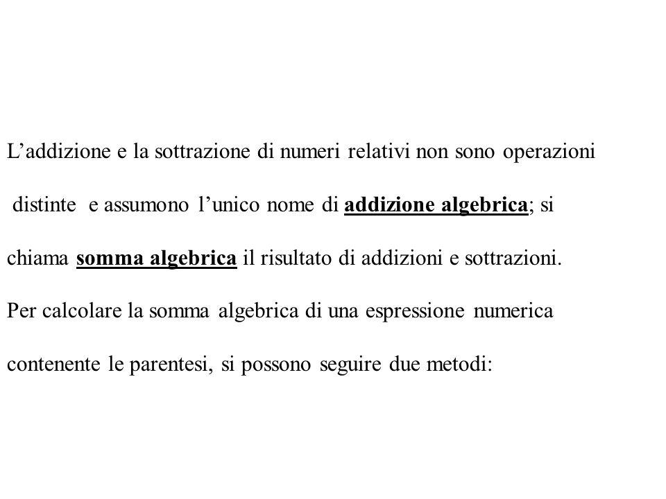 L'addizione e la sottrazione di numeri relativi non sono operazioni
