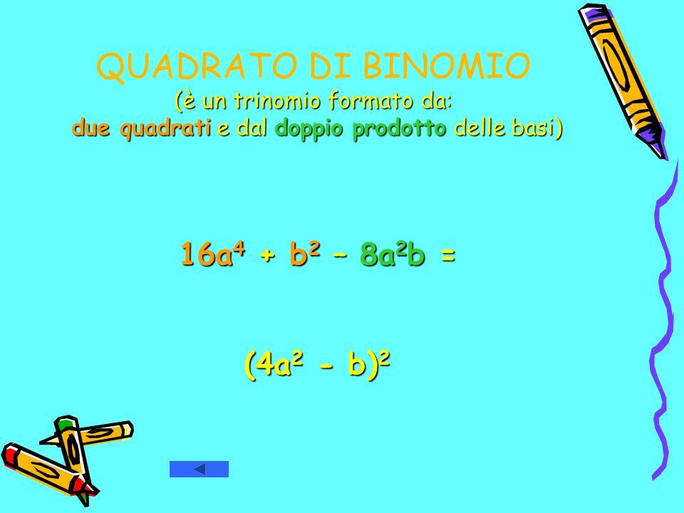 QUADRATO DI BINOMIO (è un trinomio formato da: due quadrati e dal doppio prodotto delle basi)