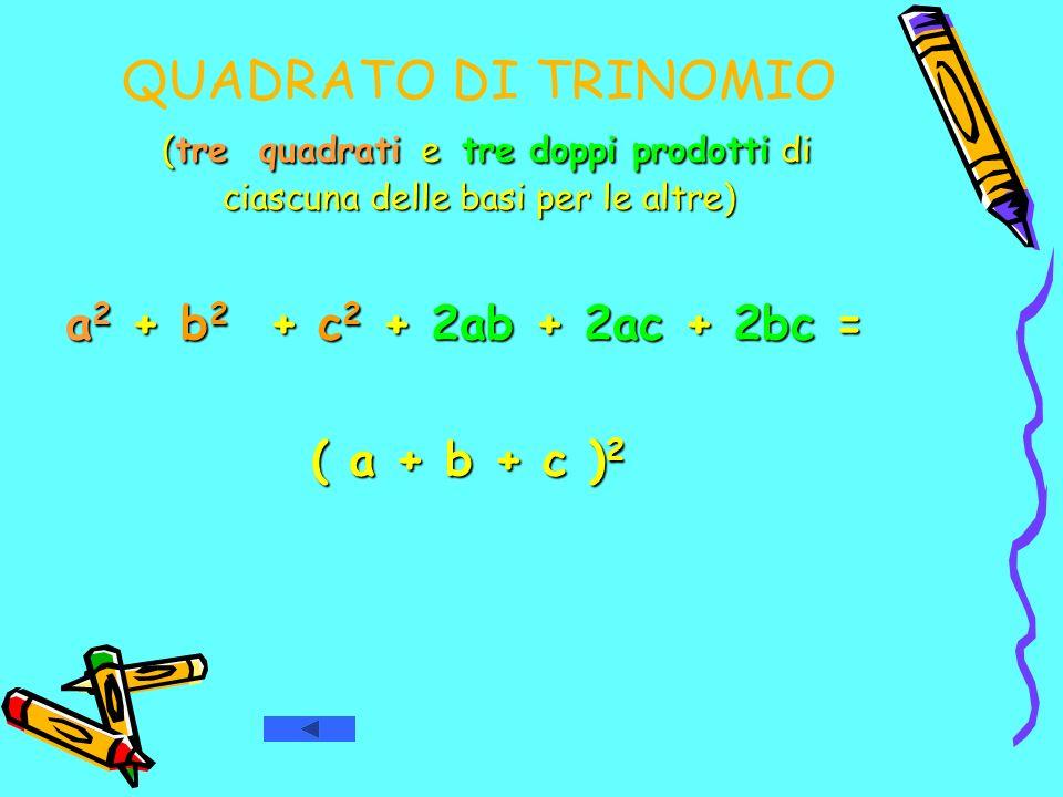 QUADRATO DI TRINOMIO (tre quadrati e tre doppi prodotti di ciascuna delle basi per le altre)