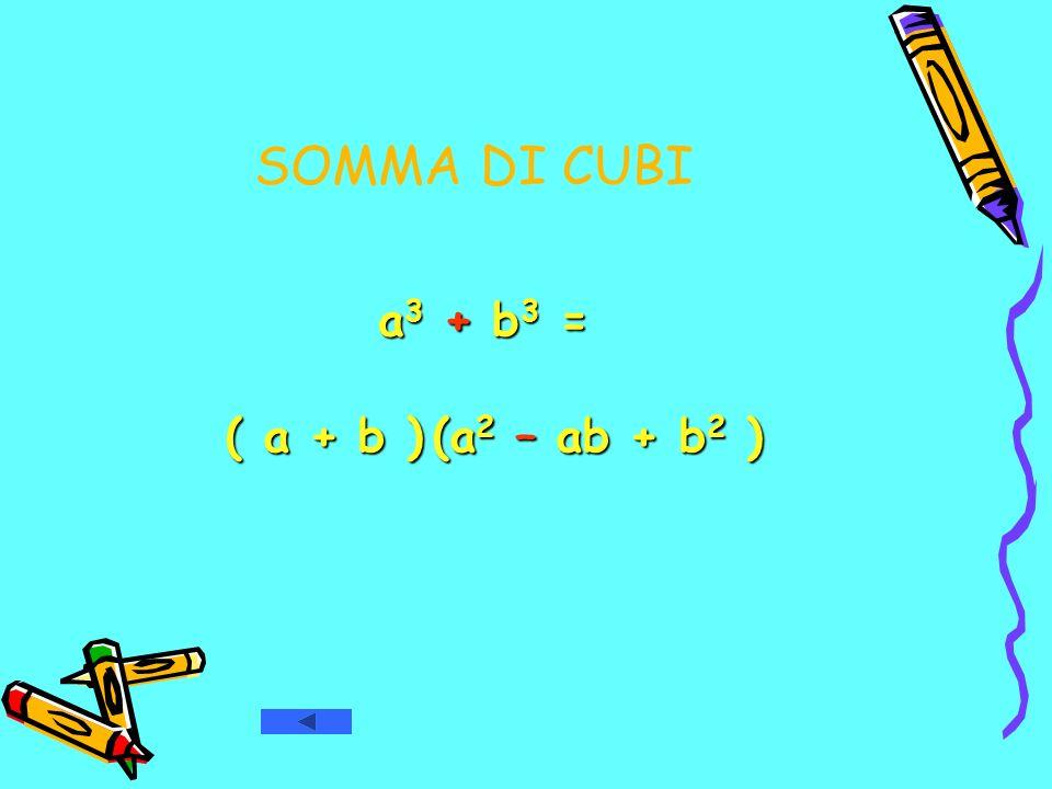 SOMMA DI CUBI a3 + b3 = ( a + b ) (a2 – ab + b2 )