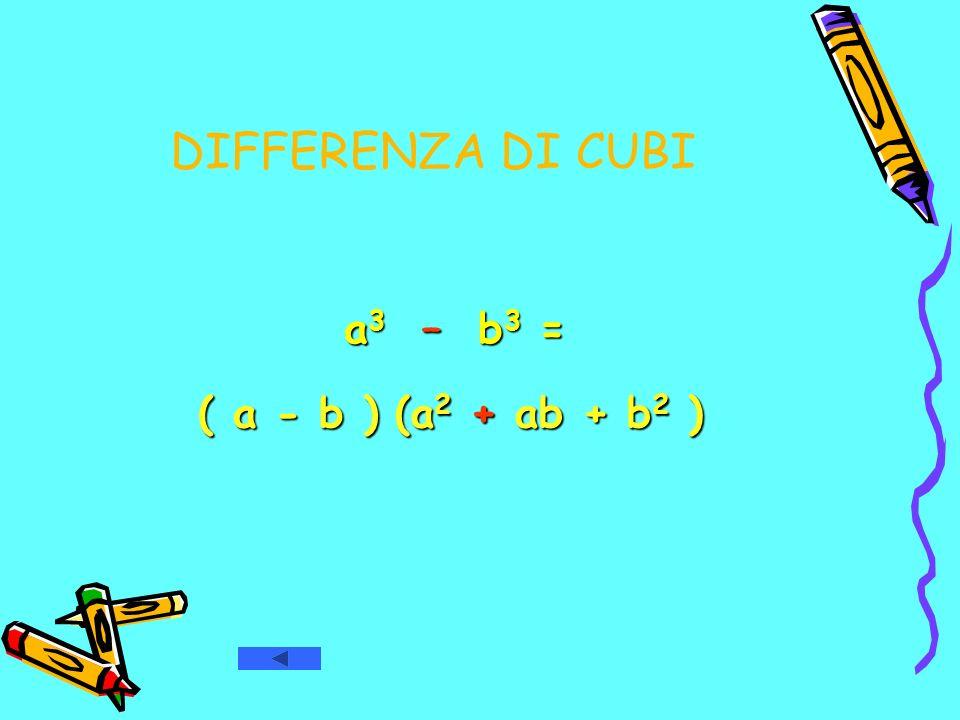 DIFFERENZA DI CUBI a3 – b3 = ( a - b ) (a2 + ab + b2 )