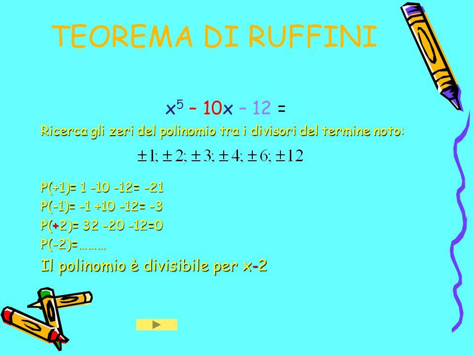 TEOREMA DI RUFFINI x5 – 10x – 12 = Il polinomio è divisibile per x-2