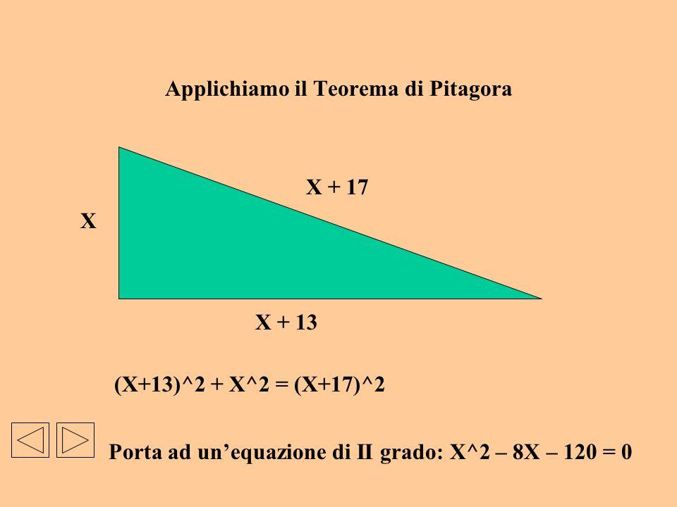 Applichiamo il Teorema di Pitagora
