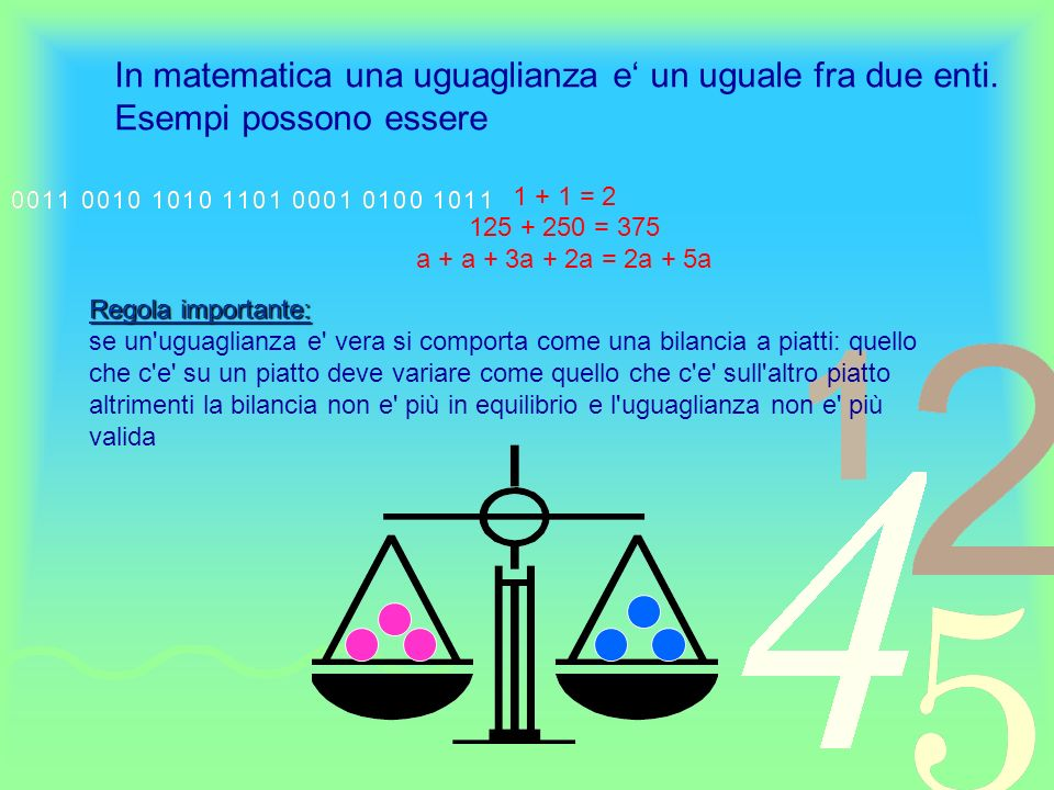 In matematica una uguaglianza e' un uguale fra due enti