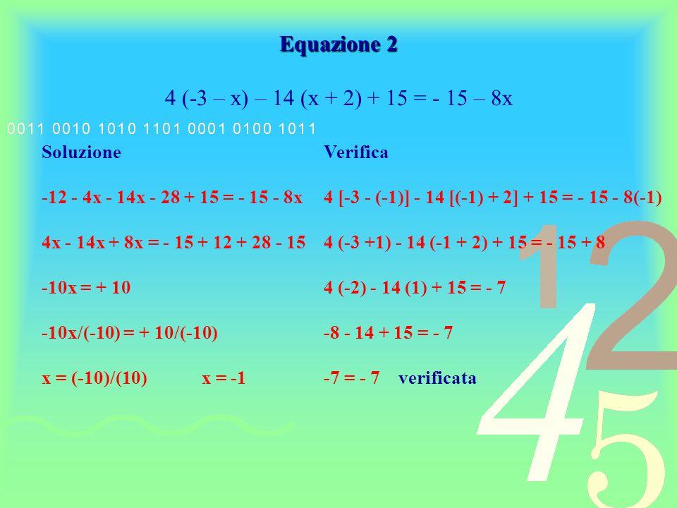 Equazione 2 4 (-3 – x) – 14 (x + 2) + 15 = - 15 – 8x